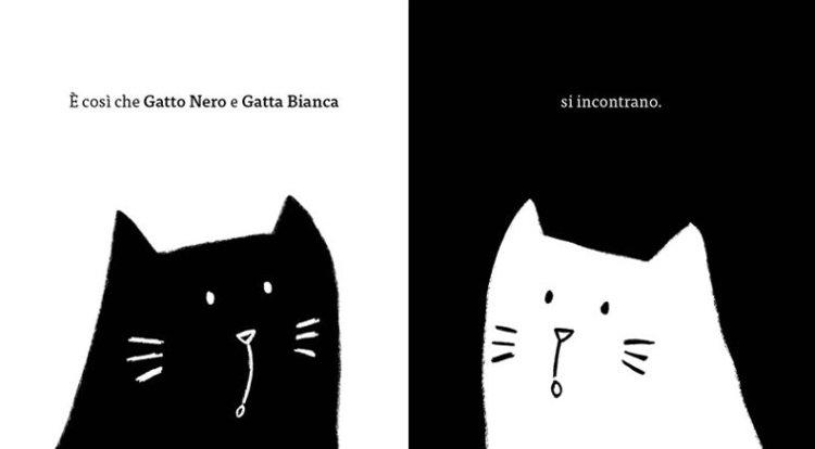 gatto nero e gatta bianca